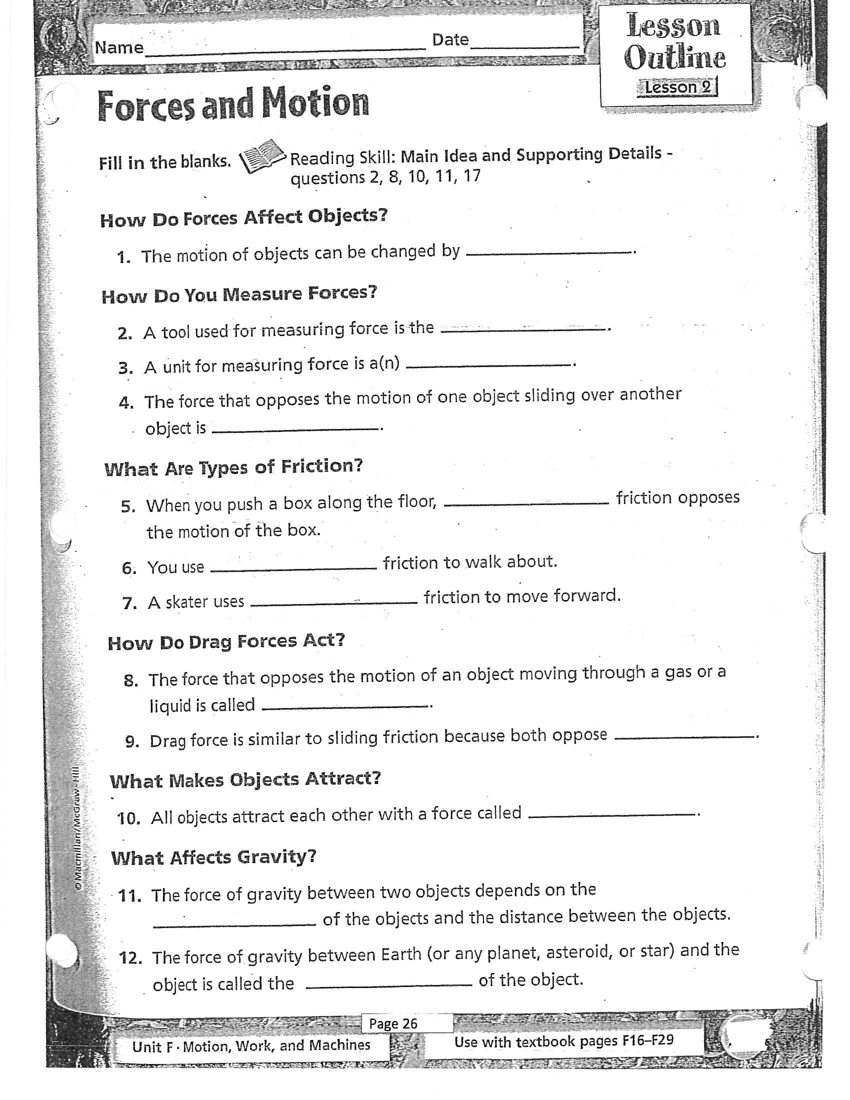 Science force and Motion Worksheets Term 4