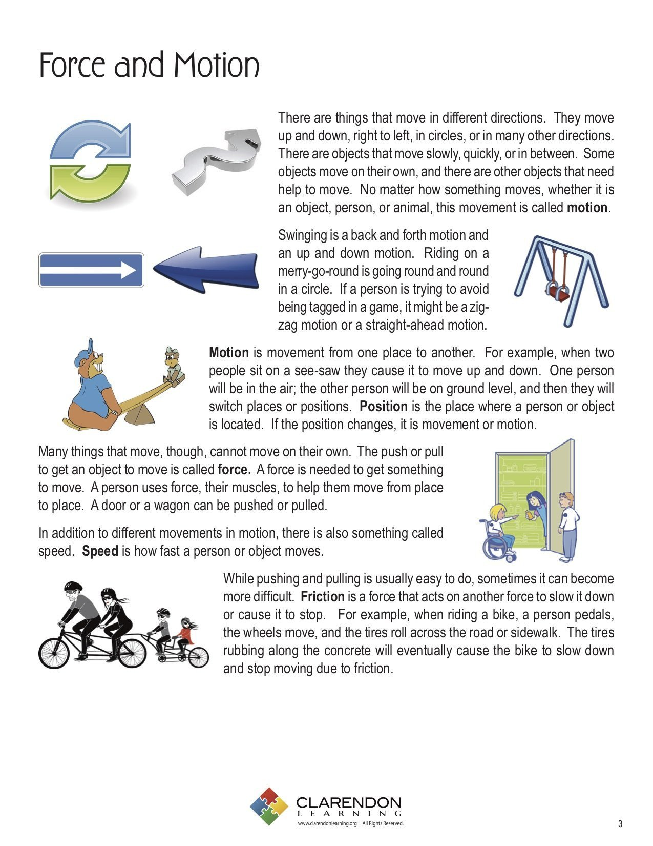 Science forces and Motion Worksheets force and Motion