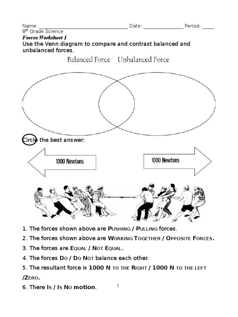 Science forces and Motion Worksheets force Problems with Answers Acceleration