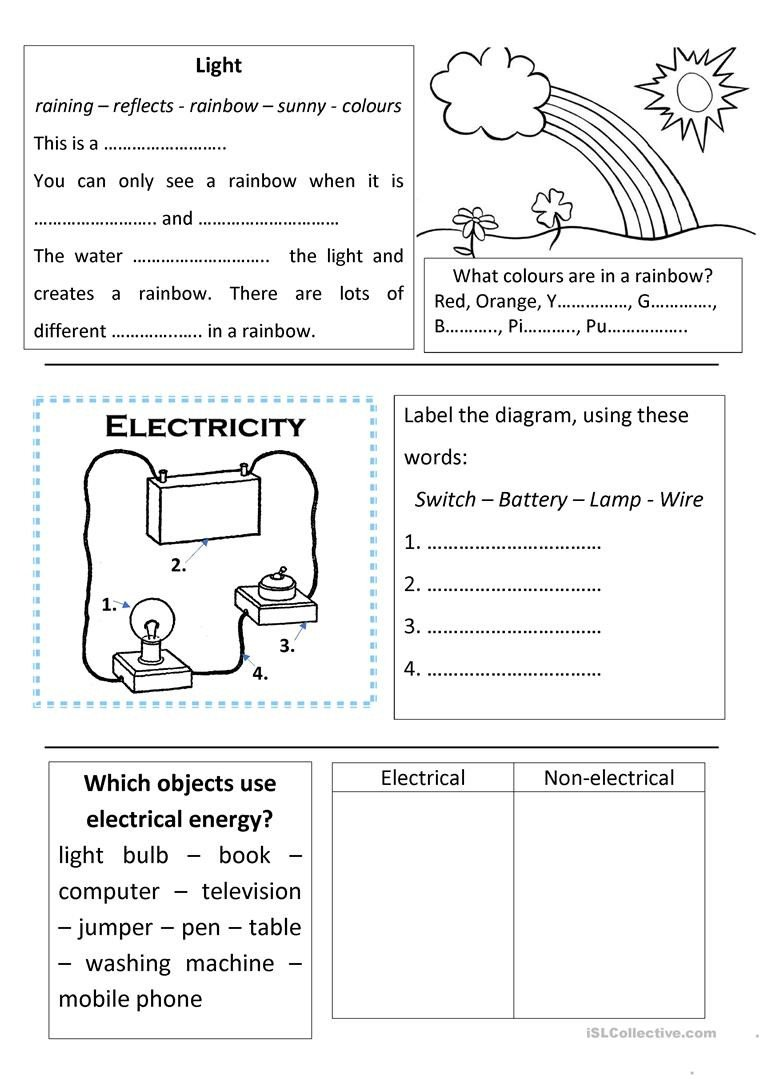 Science Worksheets for 5th Grade Science Light and Electricity English Esl Worksheets for