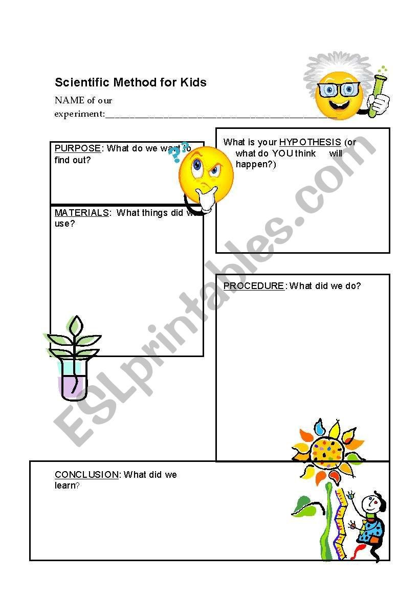 Scientific Method for Kids Worksheets Scientific Method for Young Children Esl Worksheet by