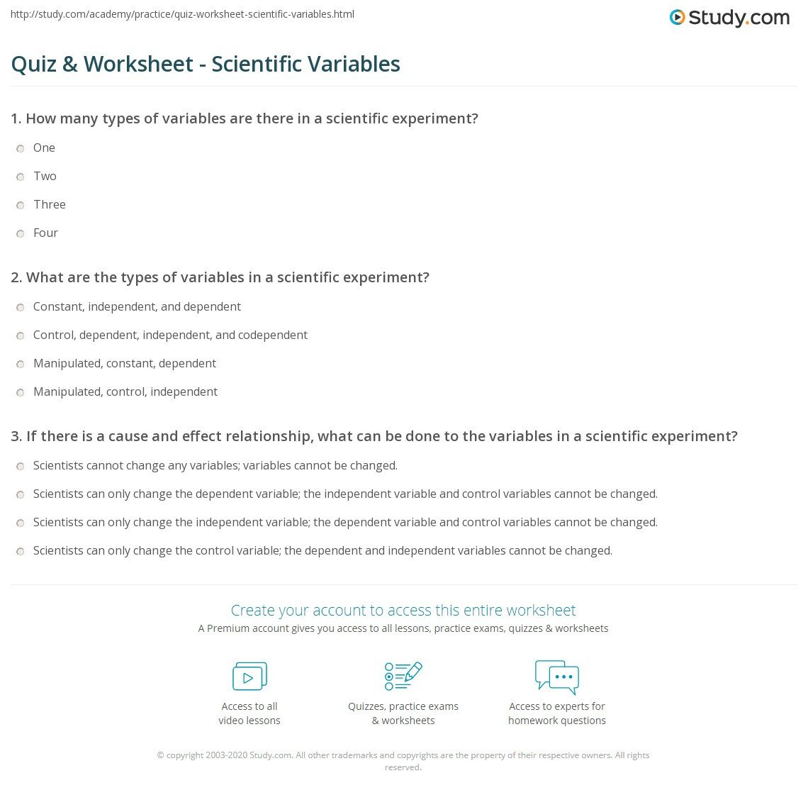 Scientific Method for Kids Worksheets Variables Worksheet Science