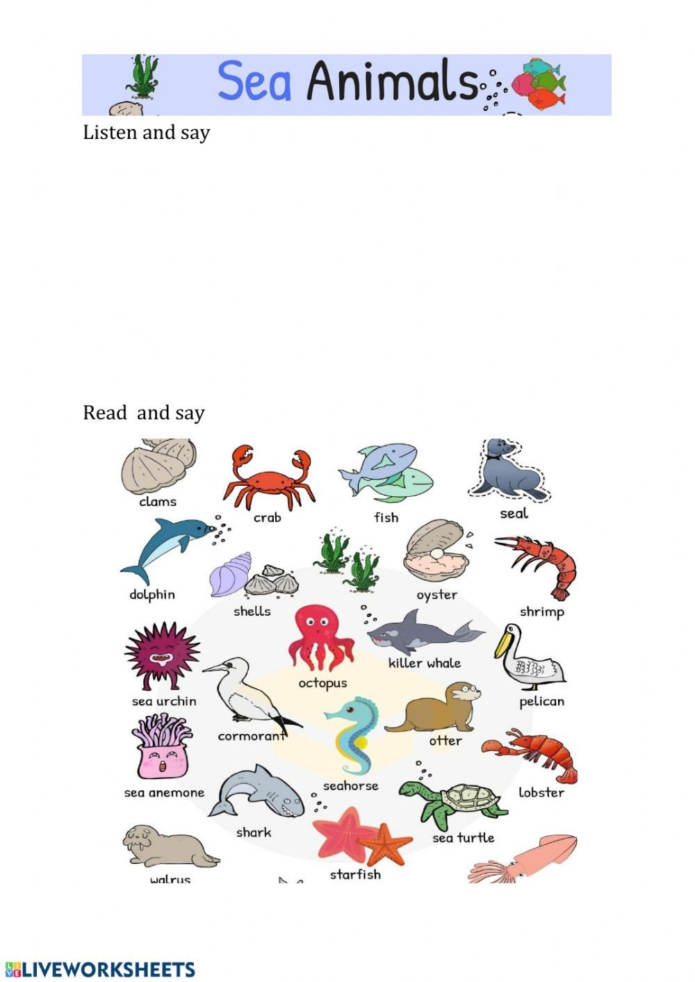 Sea Animal Worksheets Sea Animals Interactive Worksheet