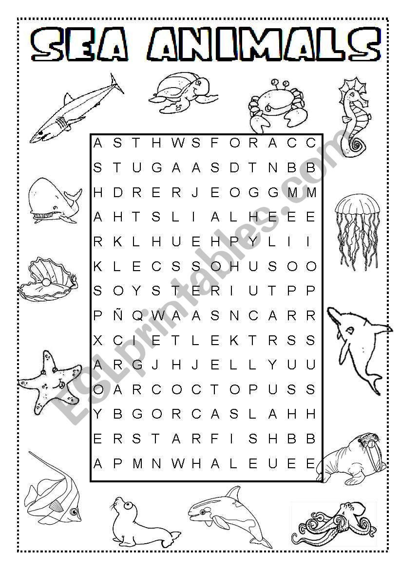 Sea Animal Worksheets Sea Animals Wordsearch Esl Worksheet by Ineta