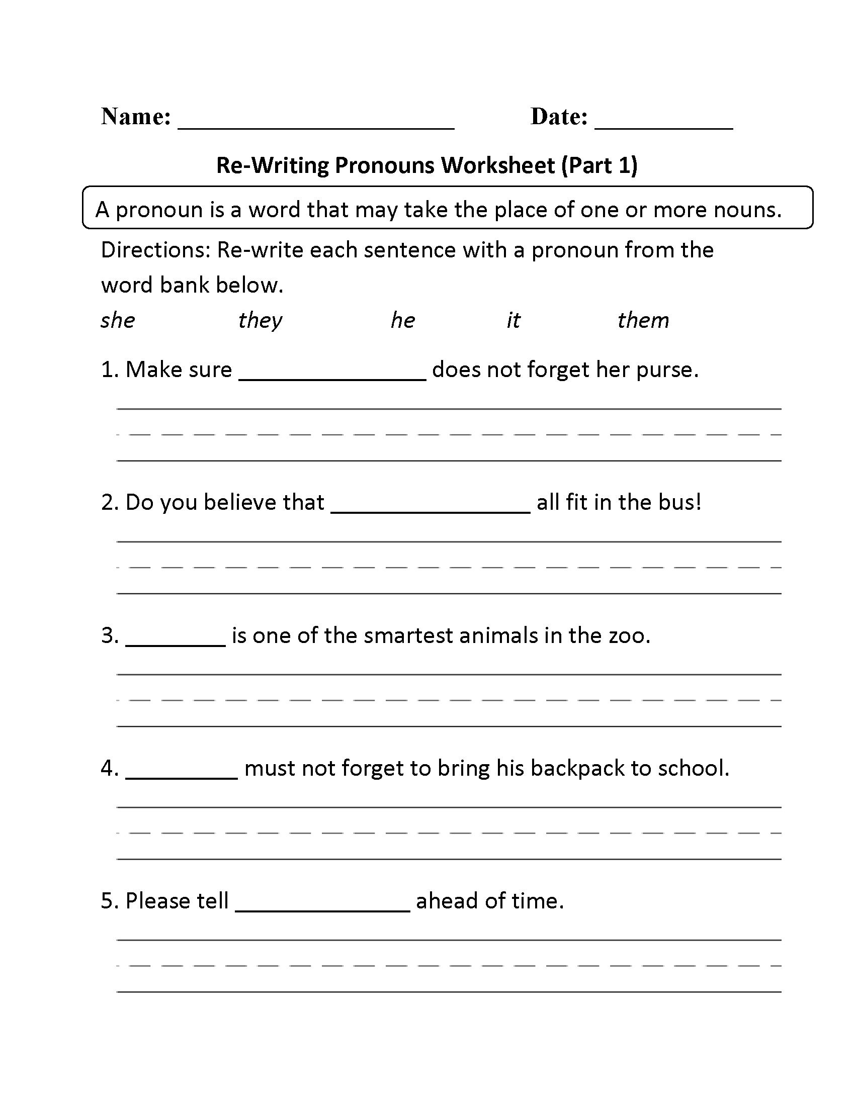 Second Grade Pronouns Worksheet Subject Pronoun Worksheets Grade 2