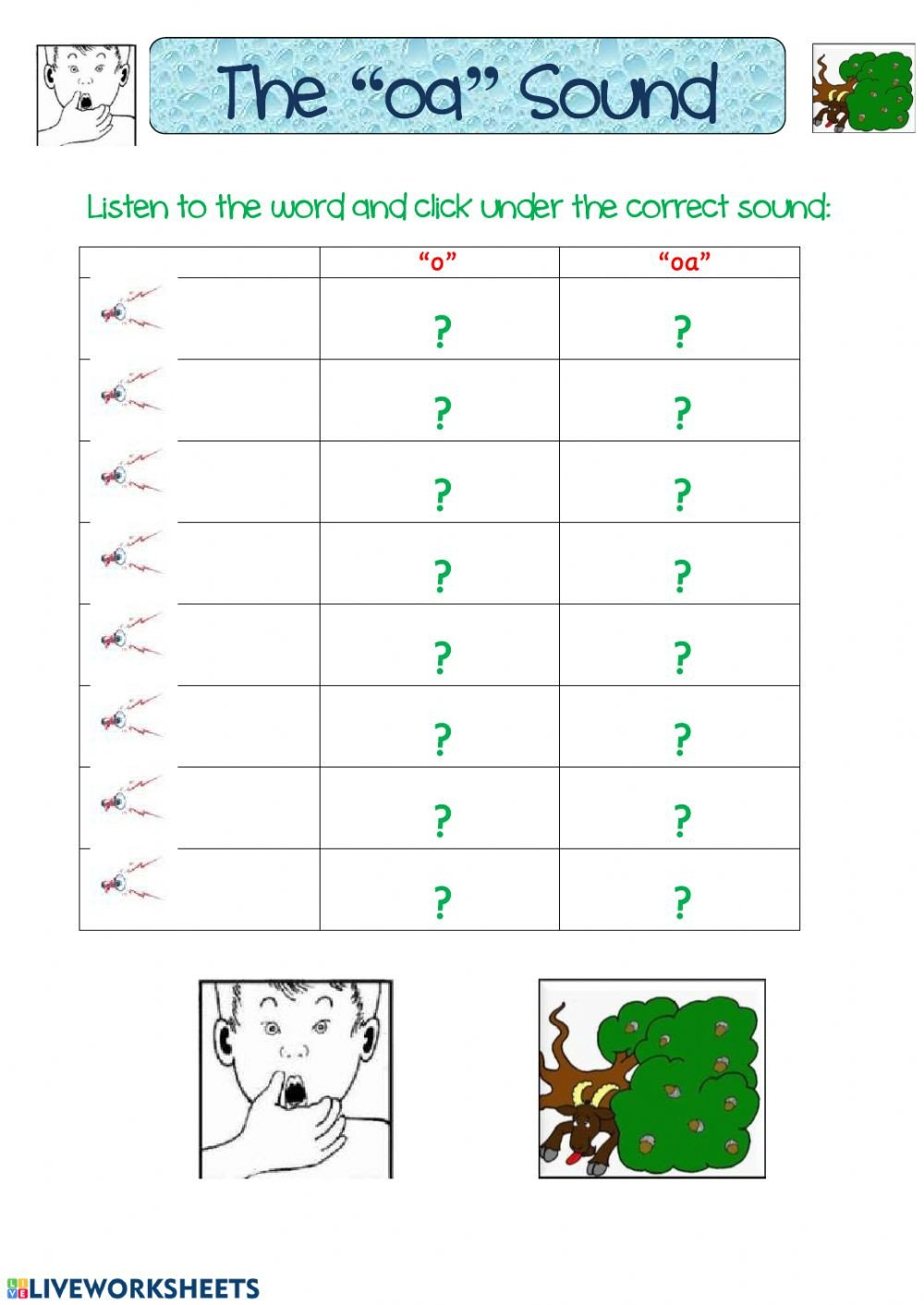 Segmenting Words Worksheets the Oa sound Interactive Worksheet