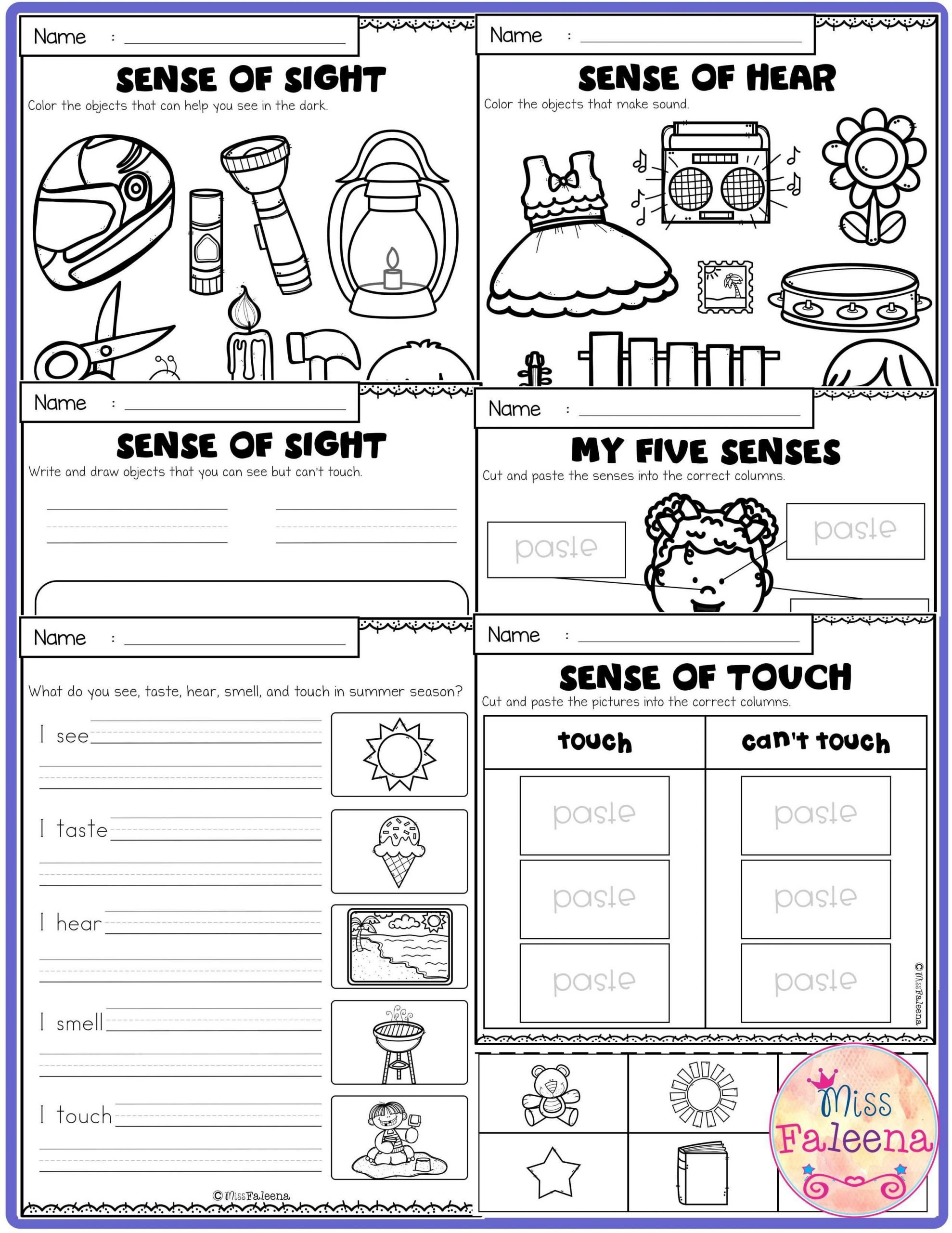 Sense Of Sight Worksheets Five Senses Activities Has 25 Pages Worksheets these