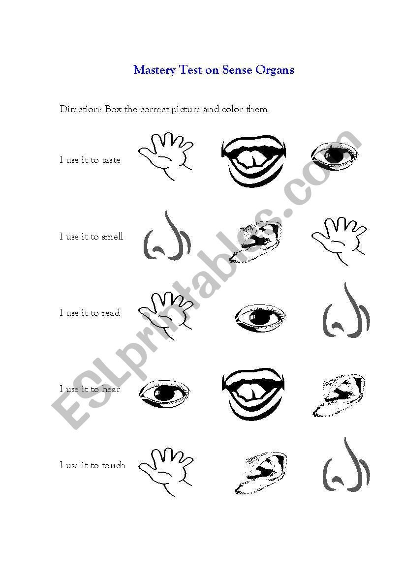 Sense organs Worksheets Mastery Test On Sense organs Esl Worksheet by Crystallmae