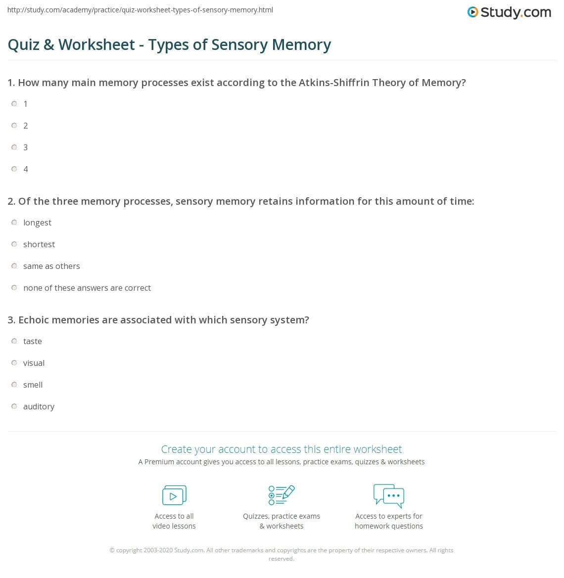 Sensory Detail Worksheet Quiz & Worksheet Types Of Sensory Memory