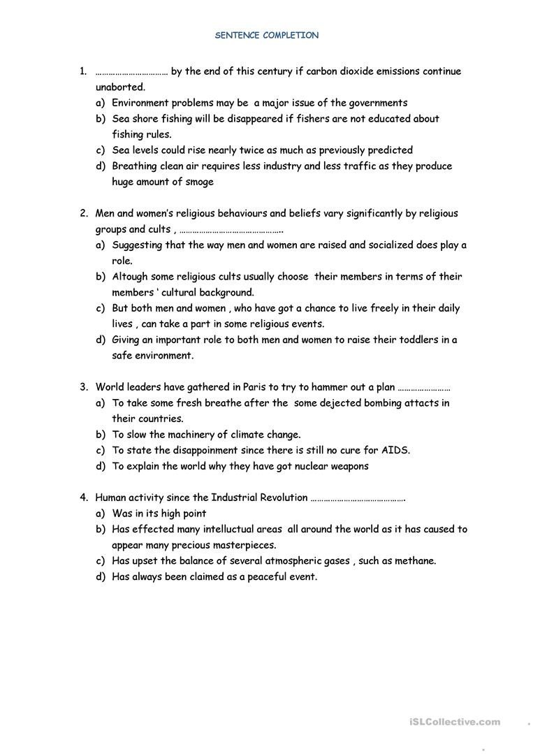 Sentence Completion Worksheets for Adults Sentence Pletion English Esl Worksheets for Distance