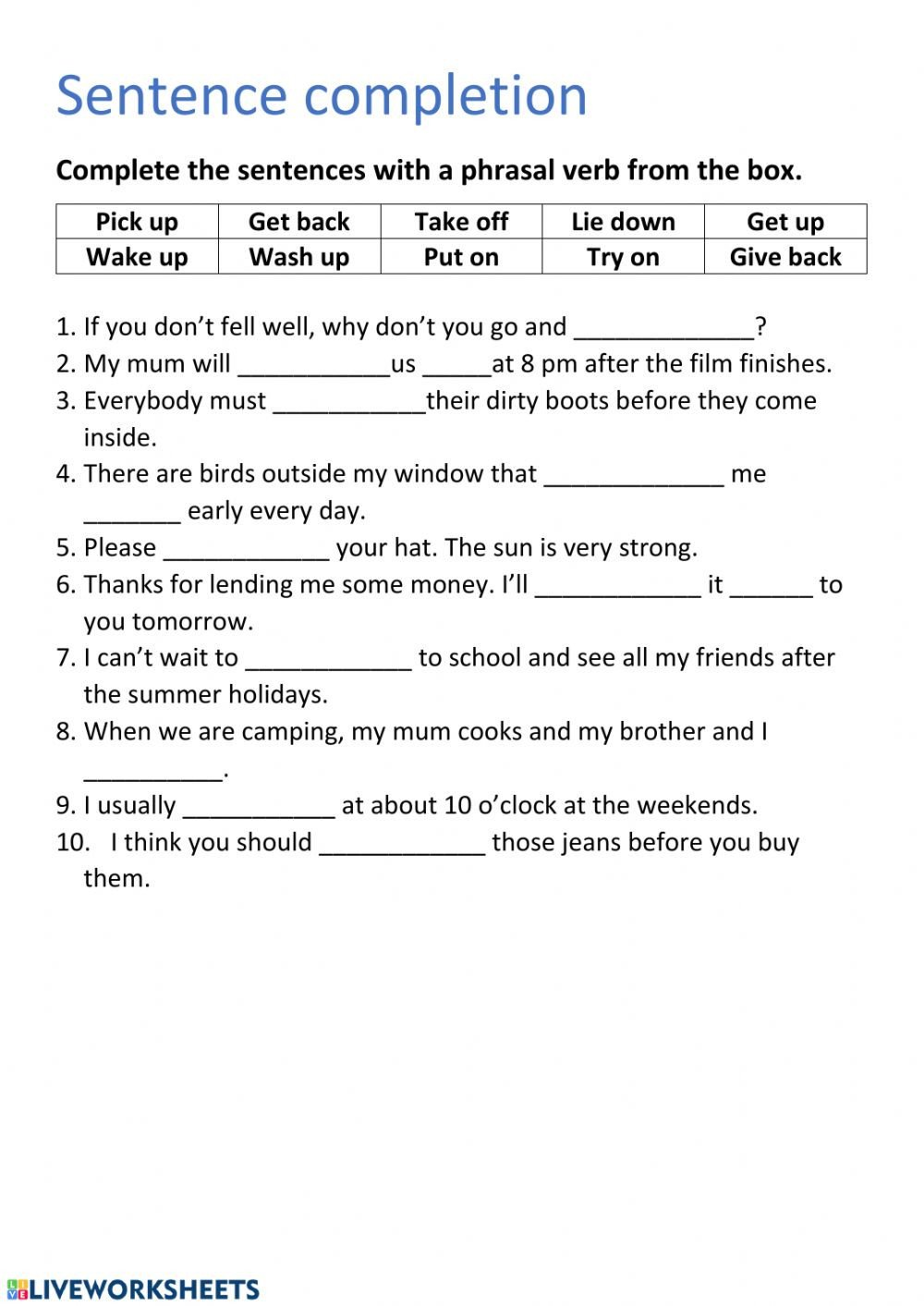 Sentence Completion Worksheets for Adults Sentence Pletion P3 Interactive Worksheet Worksheets Prek