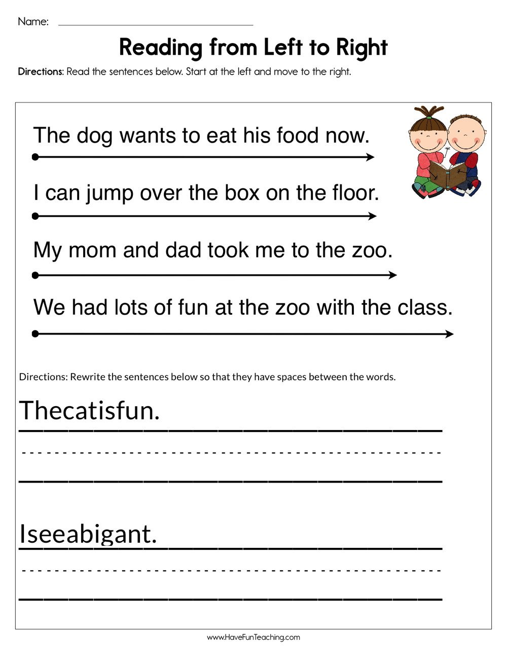 reading from left to right worksheet