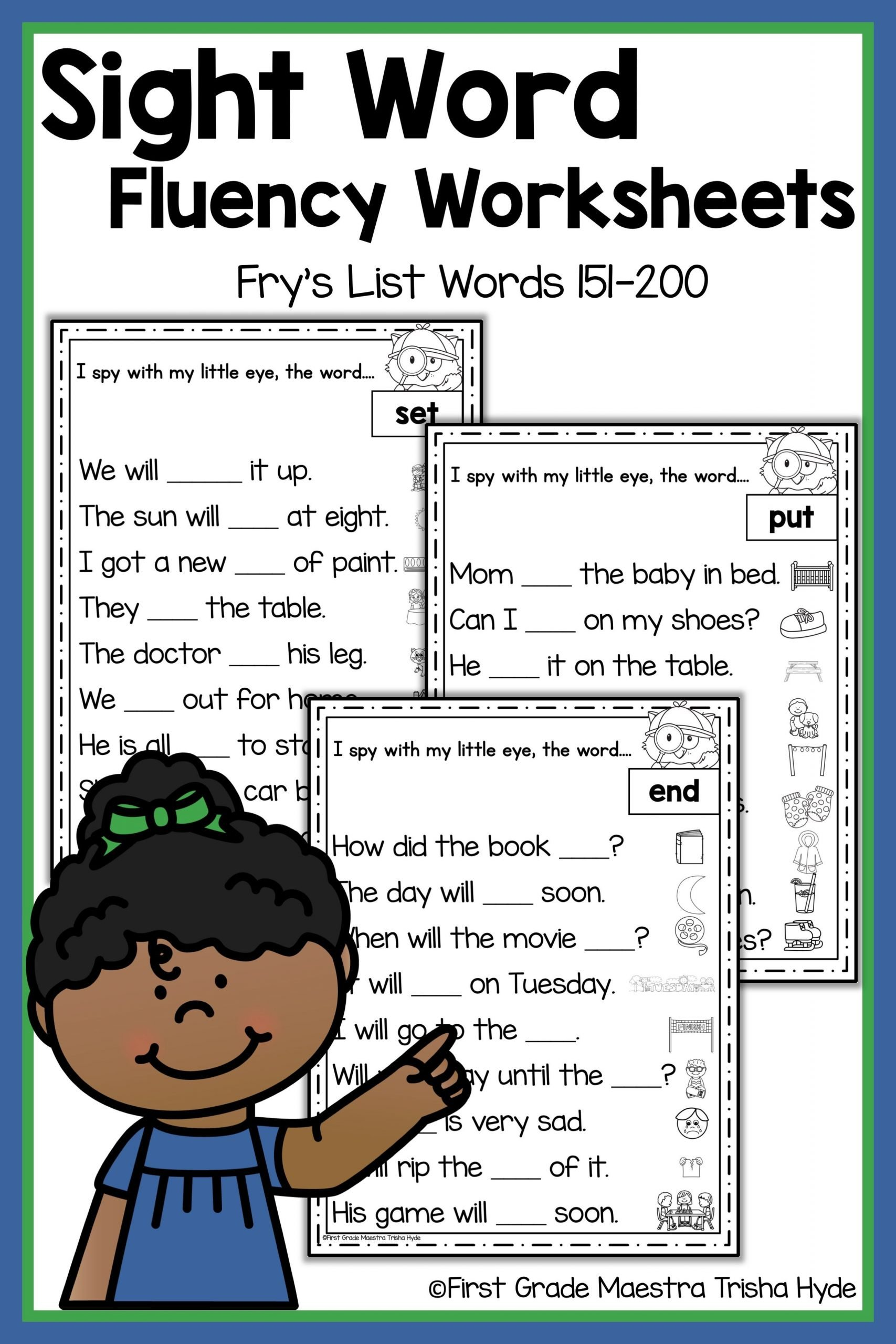 Sentence Fluency Worksheets Sight Word Fluency Worksheets Frys Words 151 to 200