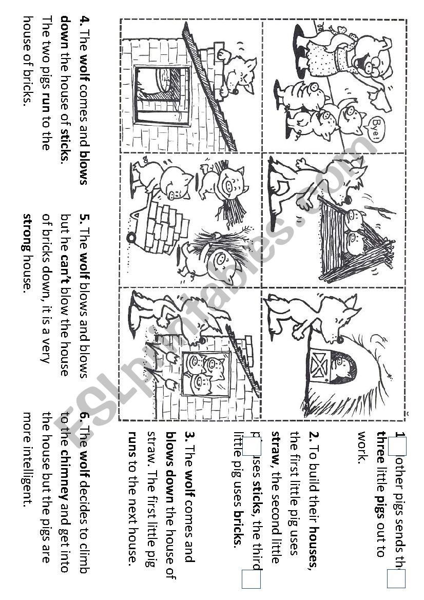 Sequence Story Worksheets Sequencing the Story Of the Three Little Pigs Esl