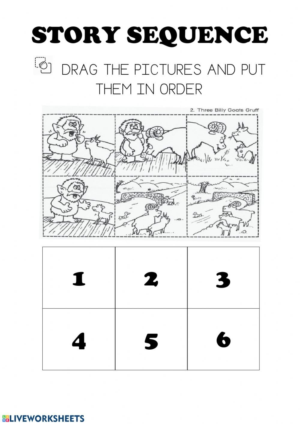 Sequence Story Worksheets Story Sequencing Three Billy Goats Gruff Interactive Worksheet
