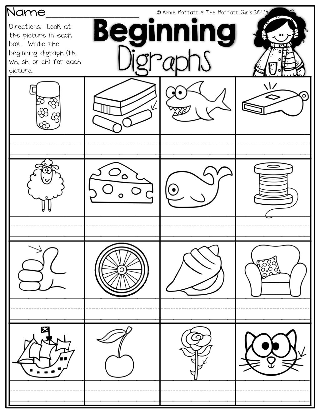 sh digraph worksheet write the beginning digraphs for each picture th wh sh or ch
