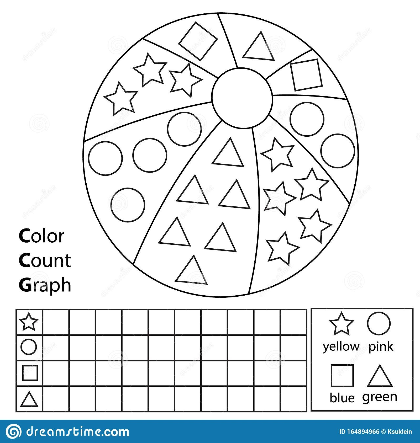 Shapes Worksheet for Kindergarten Color Worksheets for toddlers Count Graph Educational