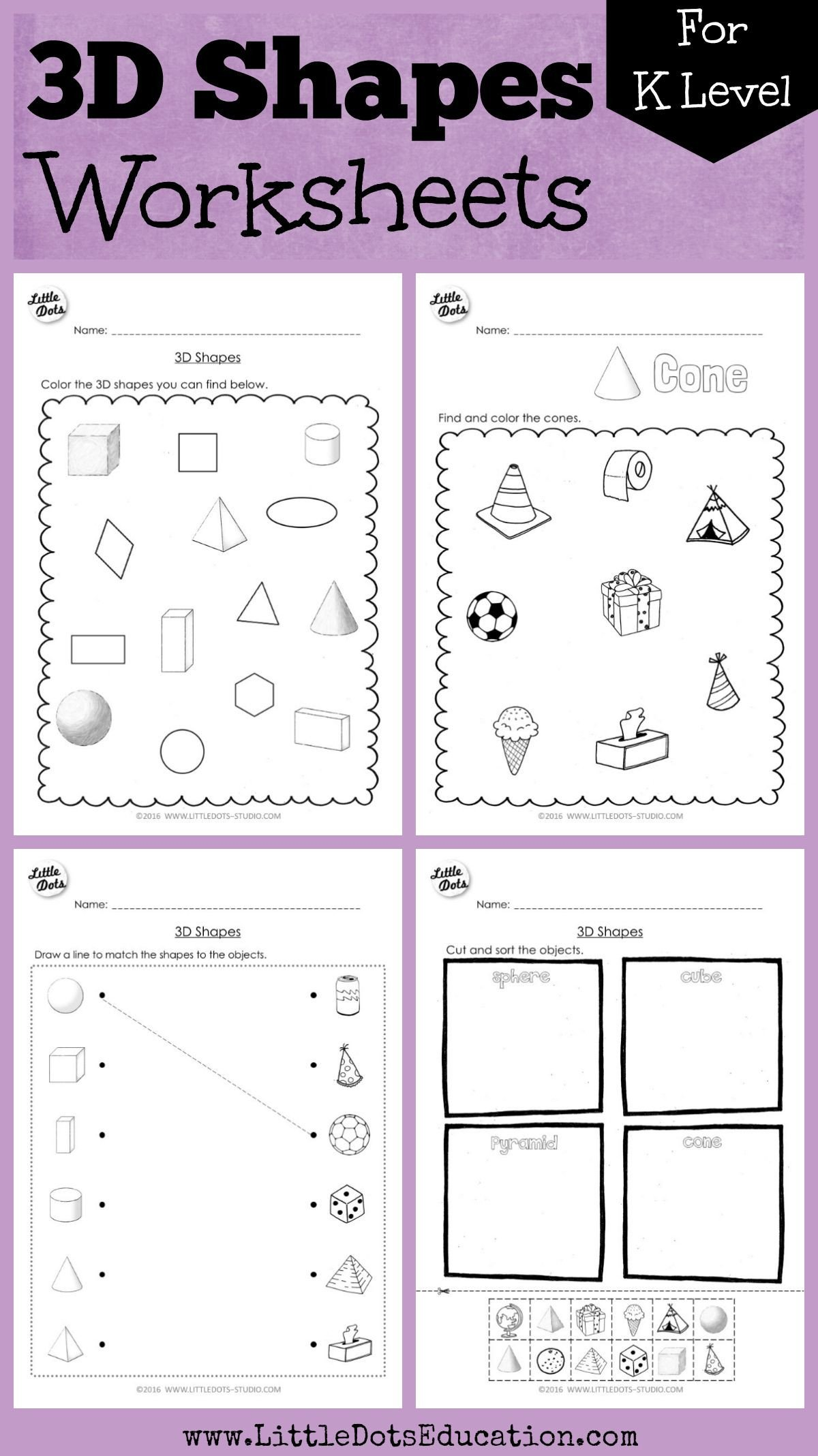 Shapes Worksheet for Kindergarten Kindergarten Math 3d Shapes Worksheets and Activities