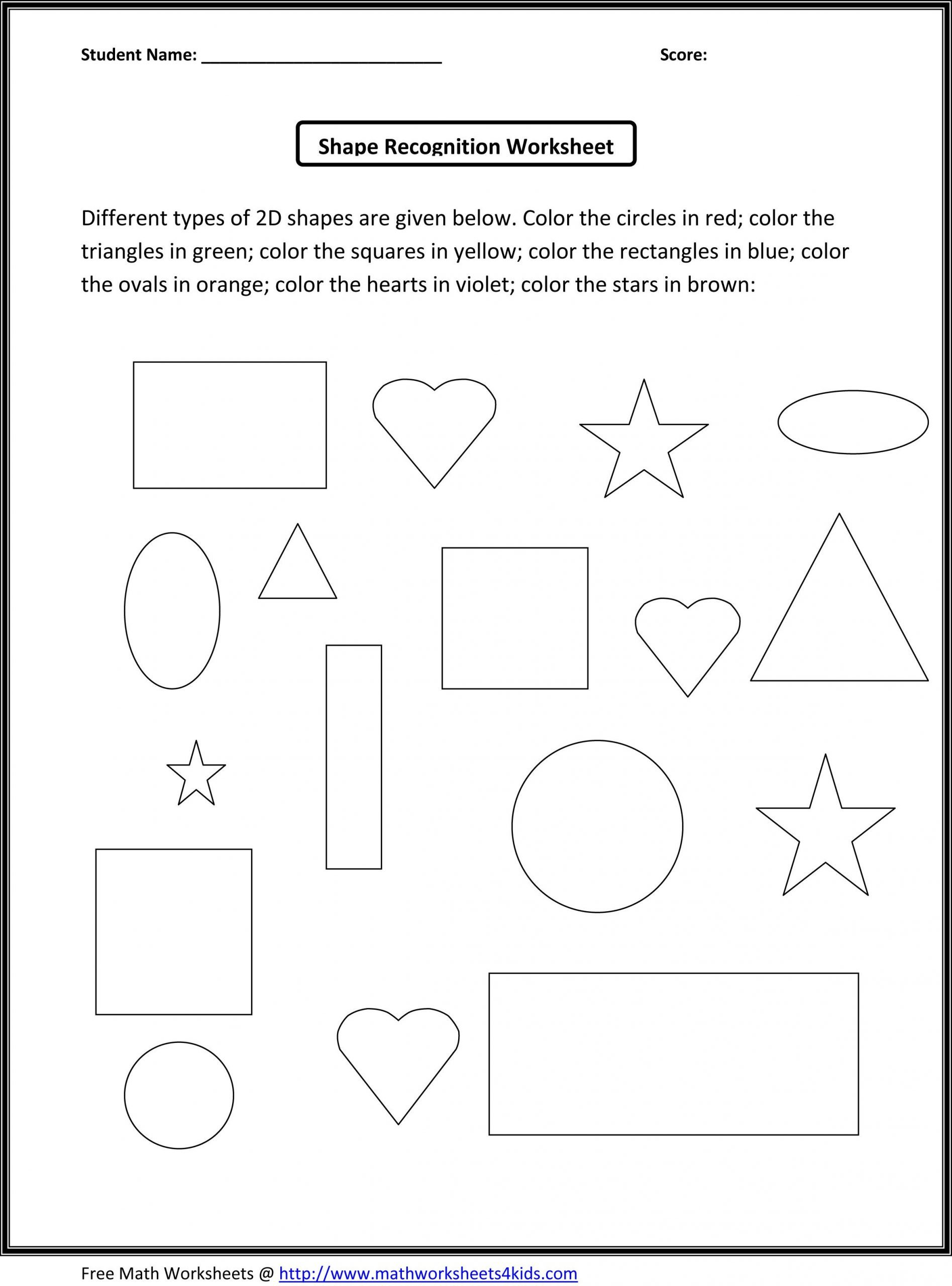 Shapes Worksheet for Kindergarten Kindergarten Math Worksheets
