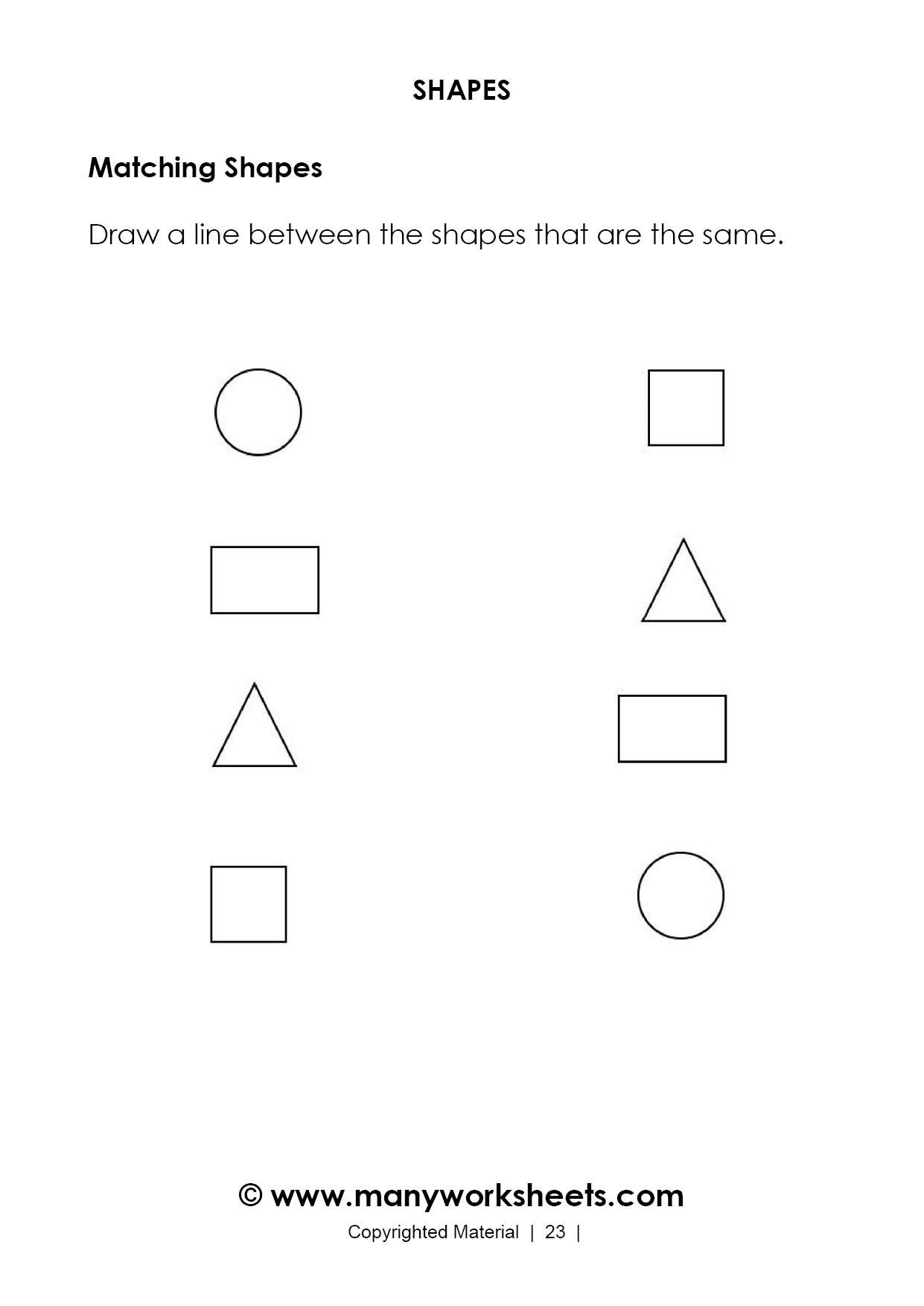 Shapes Worksheet for Kindergarten Math Worksheet Matchingeets for Kindergarten Shapes