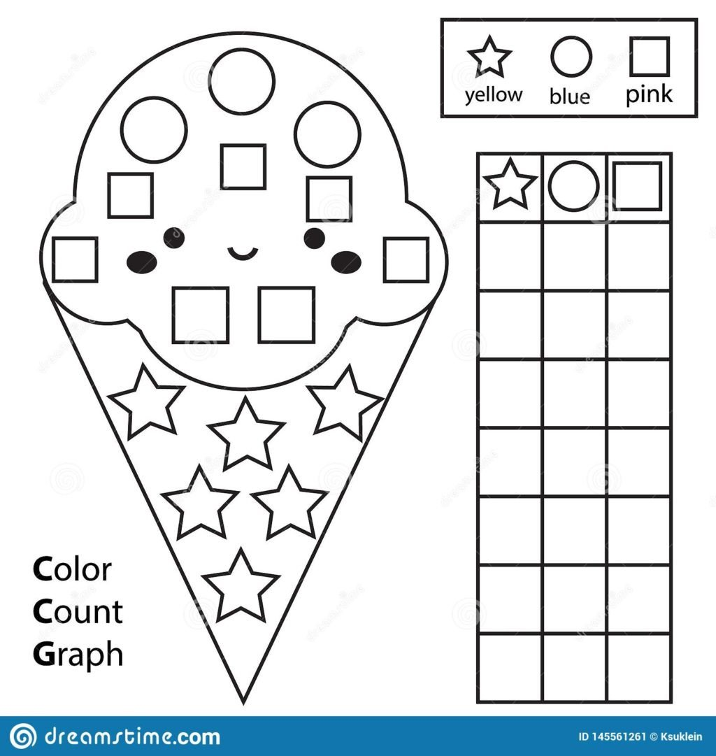 Shapes Worksheet for Kindergarten Worksheet Color Count and Graph Educational Children Game