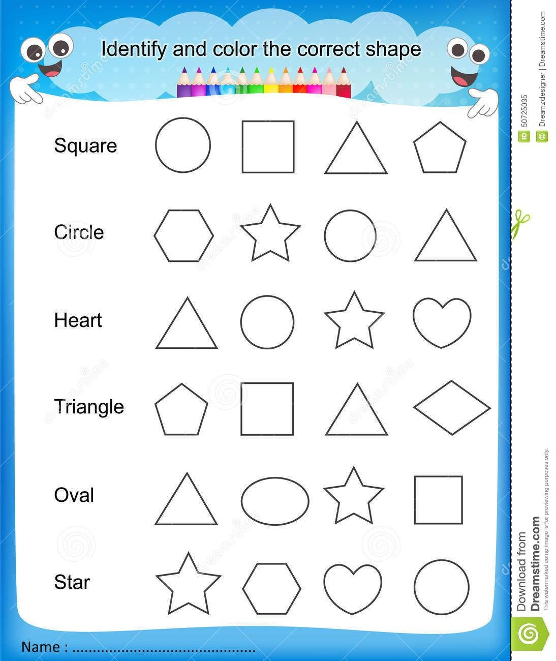 colours worksheet for kindergarten shapes