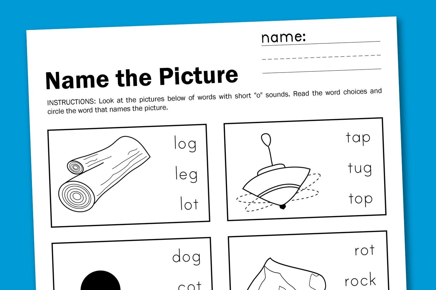"Short O Worksheets Free Name the Picture Short ""o"" Paging Supermom"