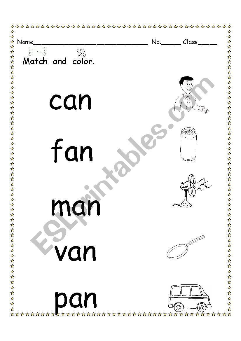 Short Vowel Worksheet Kindergarten Phonics ´an´ Short Vowel sound 2 Esl Worksheet by Nutcharat