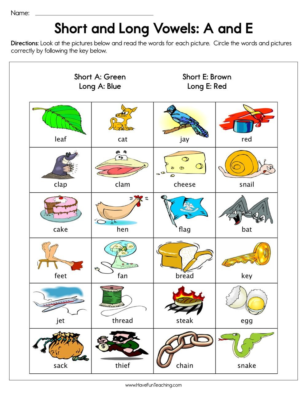 short and long vowels a and e worksheet