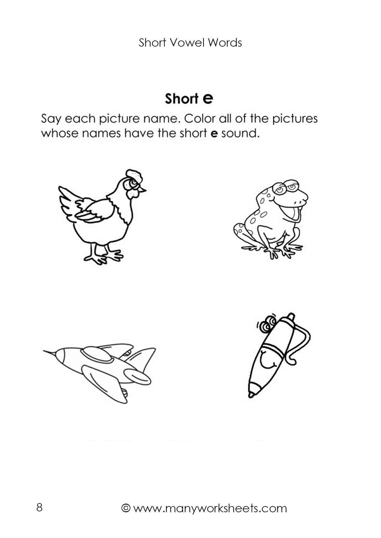 Short Vowel Worksheet Kindergarten Short Vowel E sound Worksheet 2