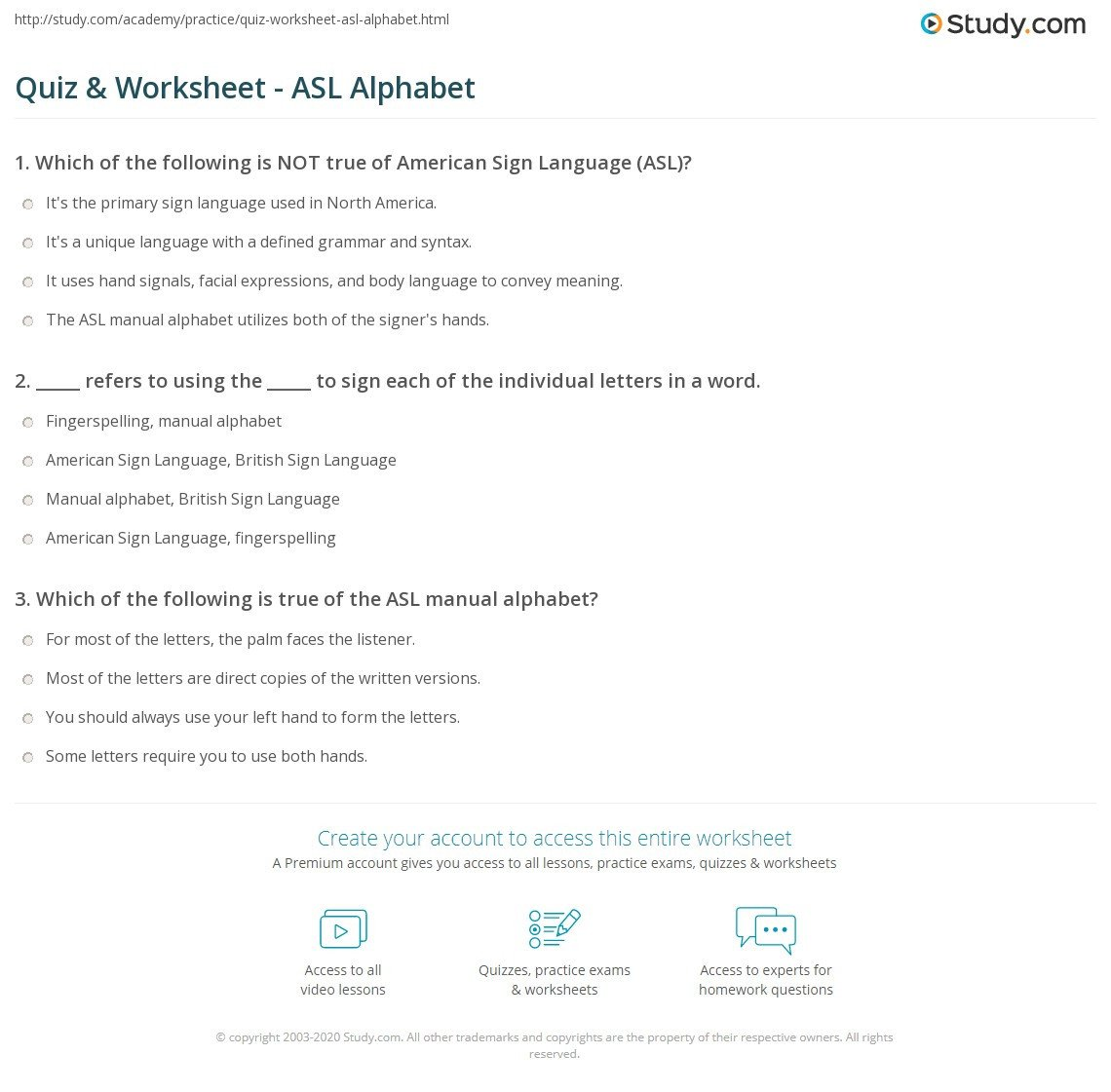 Sign Language Worksheets for Beginners Quiz & Worksheet asl Alphabet