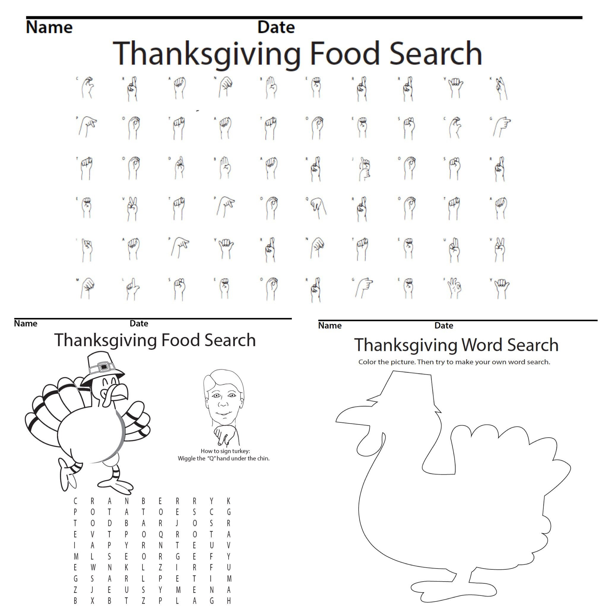 Thanksgiving Food Word Search Product screen shot