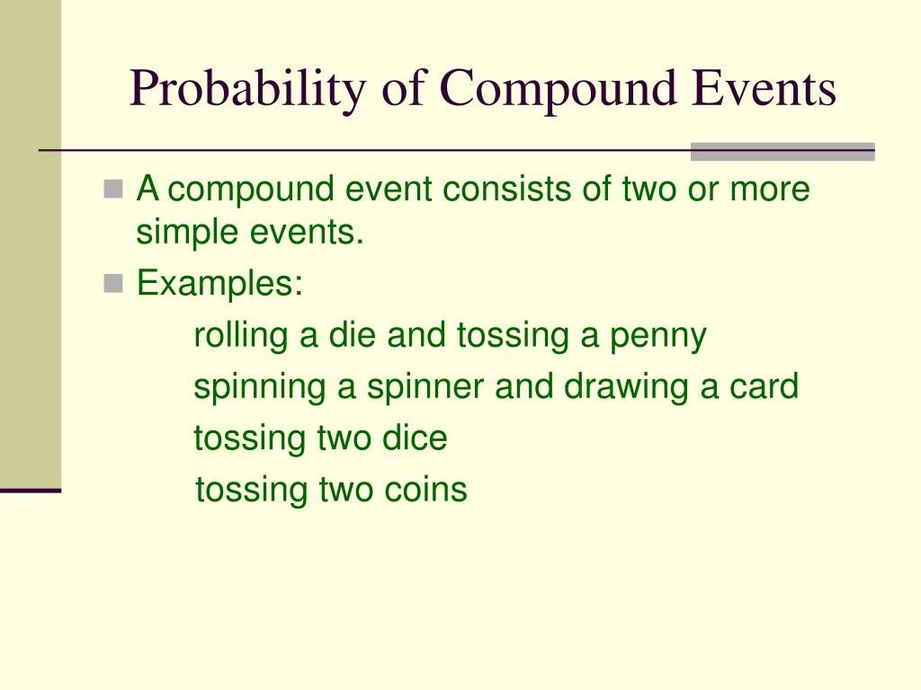 Simple and Compound Probability Worksheet Ppt Probability Of Pound events Powerpoint Presentation