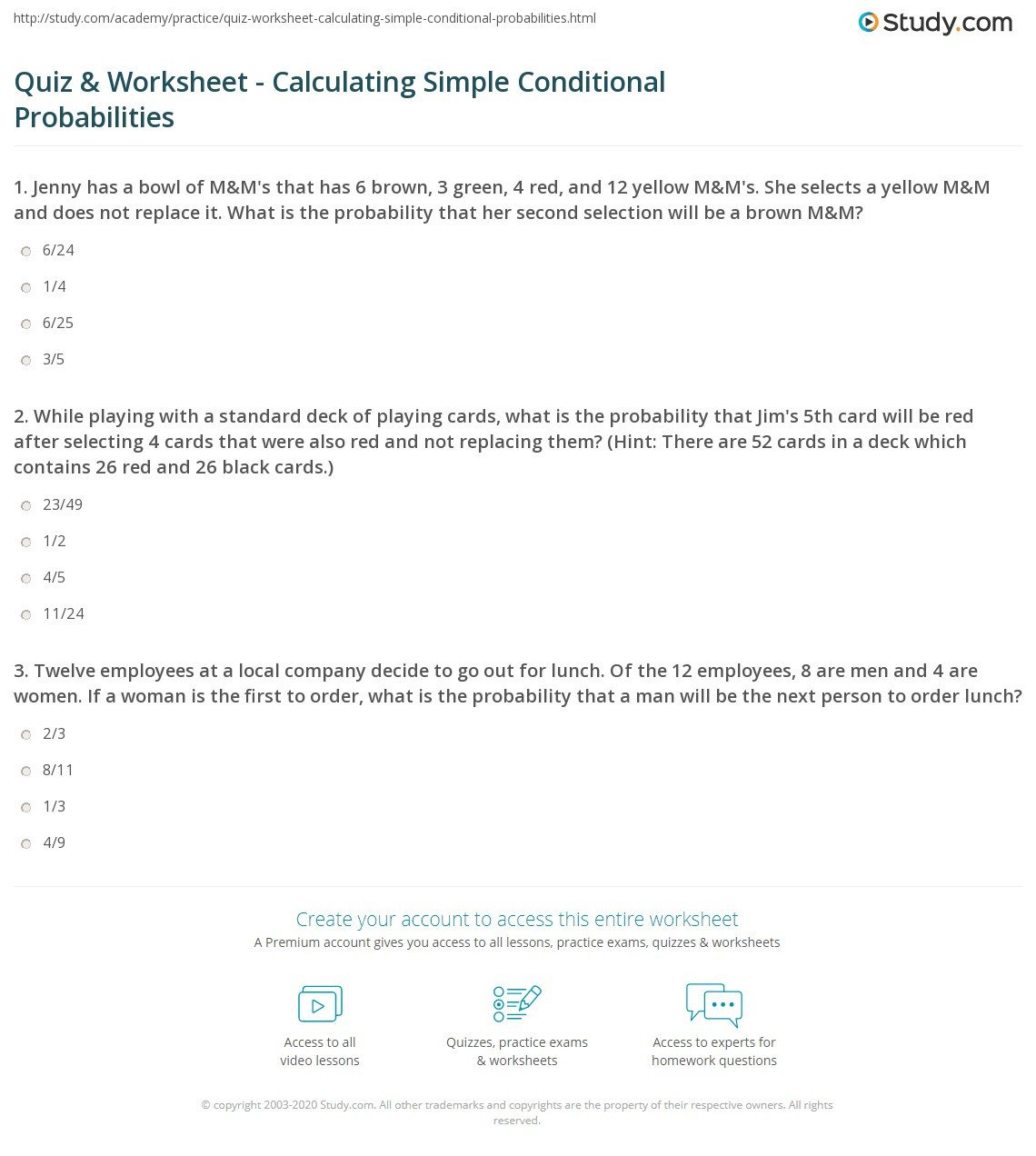 Simple and Compound Probability Worksheet Quiz & Worksheet Calculating Simple Conditional