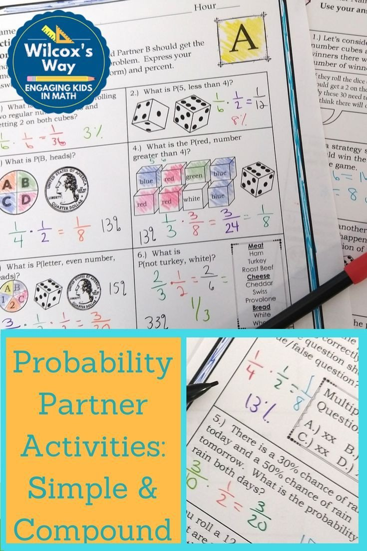 Simple and Compound Probability Worksheet Simple and Pound Probability Partner Activities
