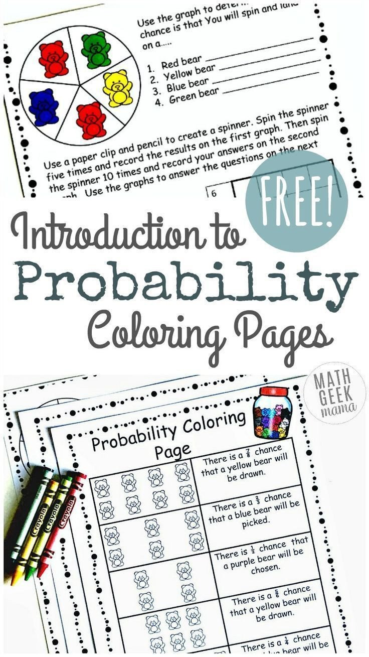 Simple and Compound Probability Worksheet Simple Coloring Probability Worksheets for Grades 4 6 Free