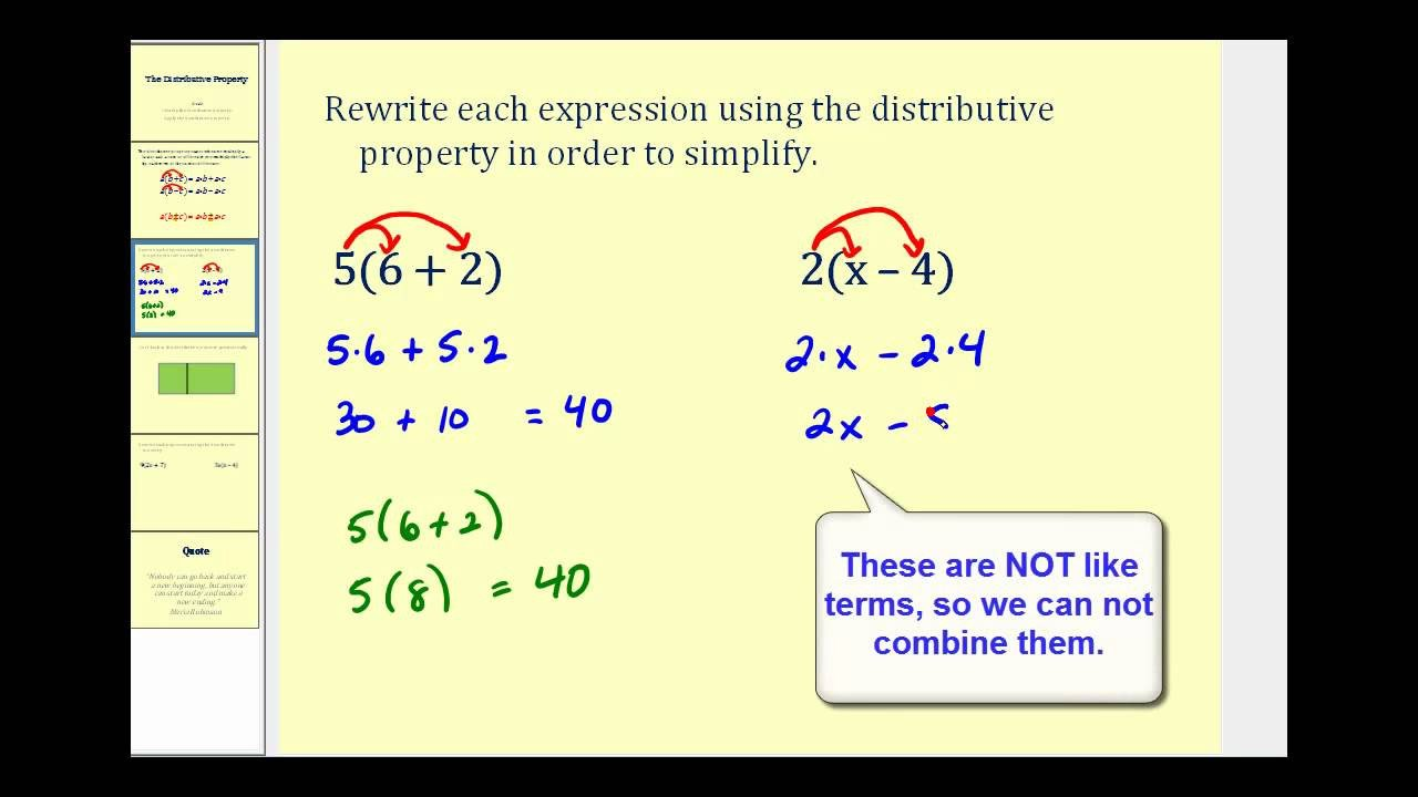Simple Distributive Property Worksheets Simplify Expressions and Distributive Property Examples