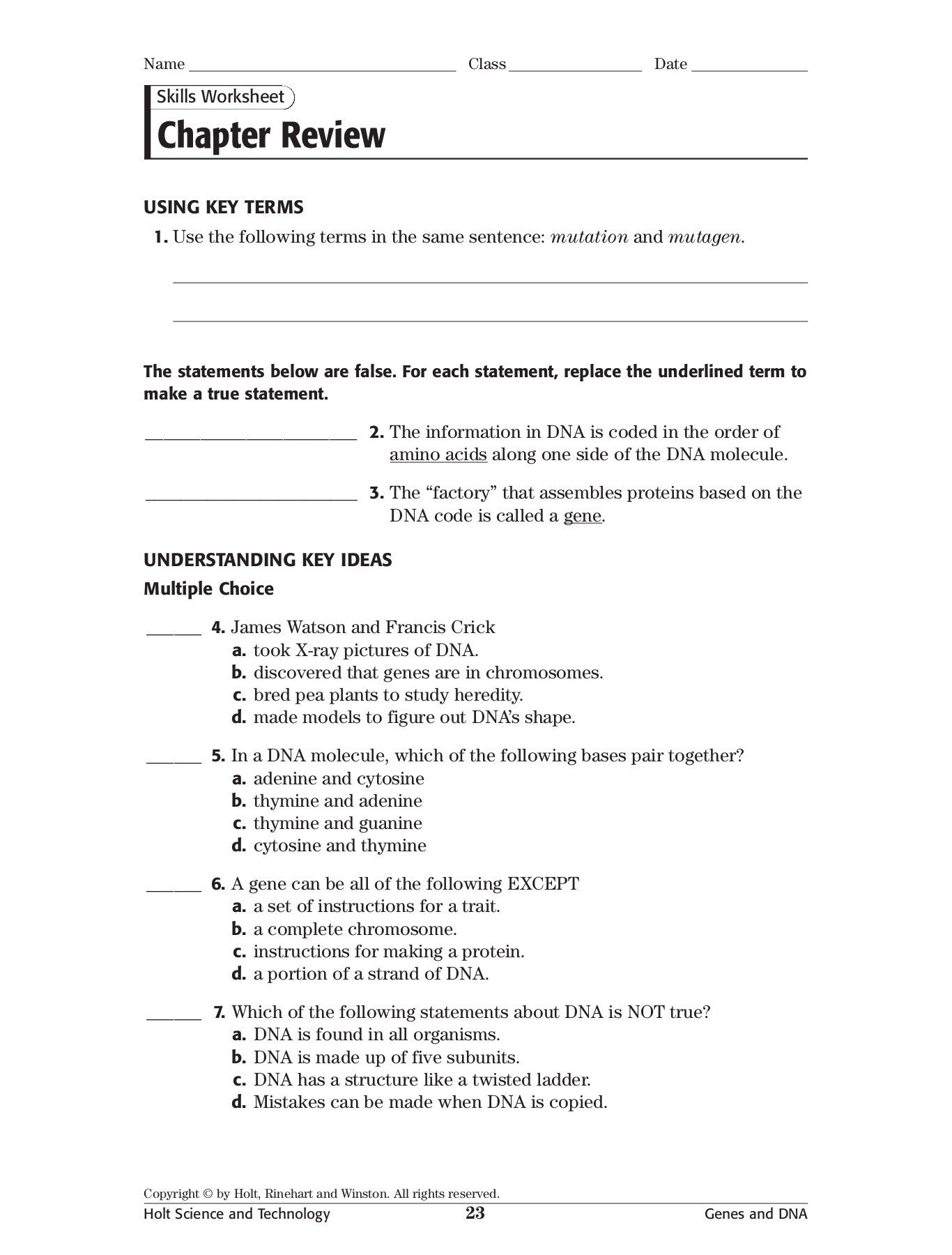 Skills Worksheet Dna Structure Skills Worksheet Chapter Review Blessed Trinity Catholic