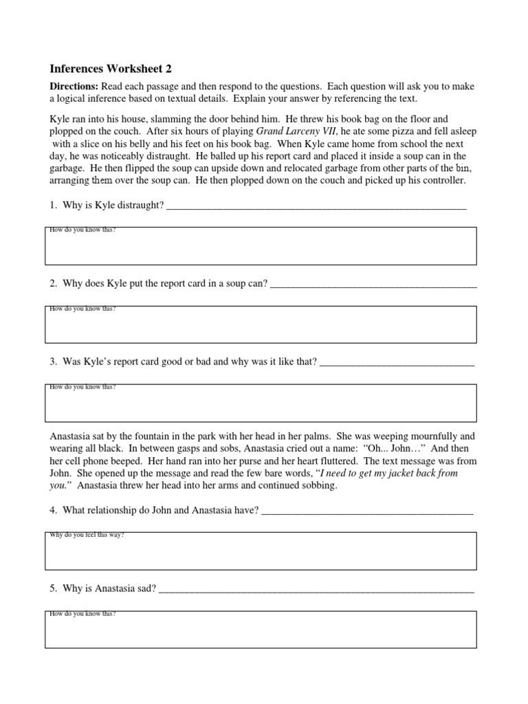 Social Inferences Worksheets Inference Worksheet 2
