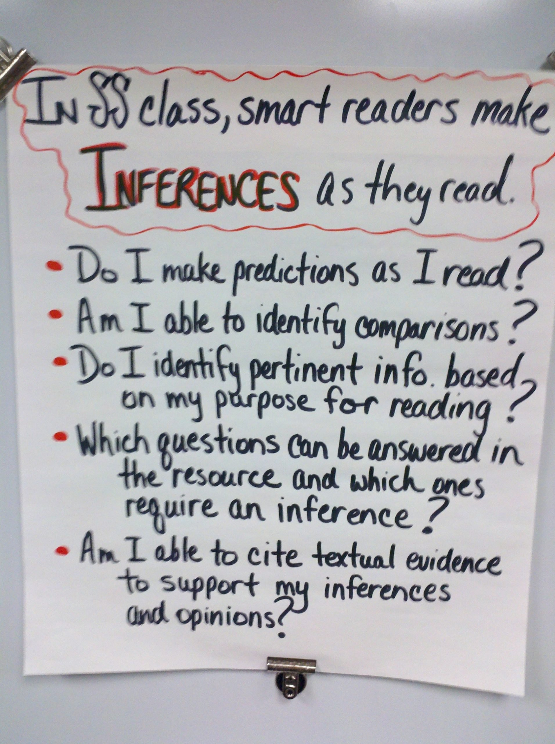 "Social Inferences Worksheets Inferring"" Anchor Chart social Stu S"