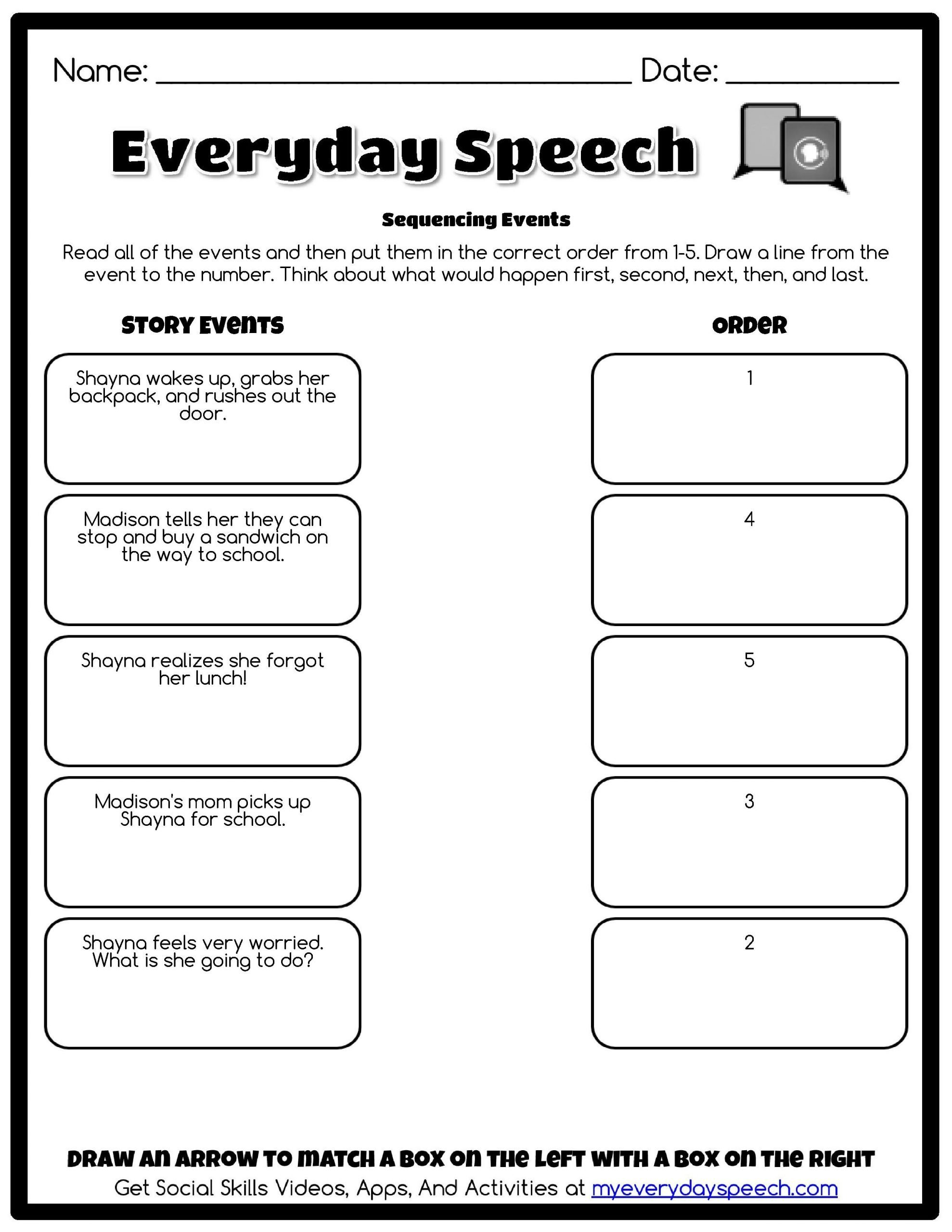 Social Skills Worksheets for Children Sequencing events Everyday Speech