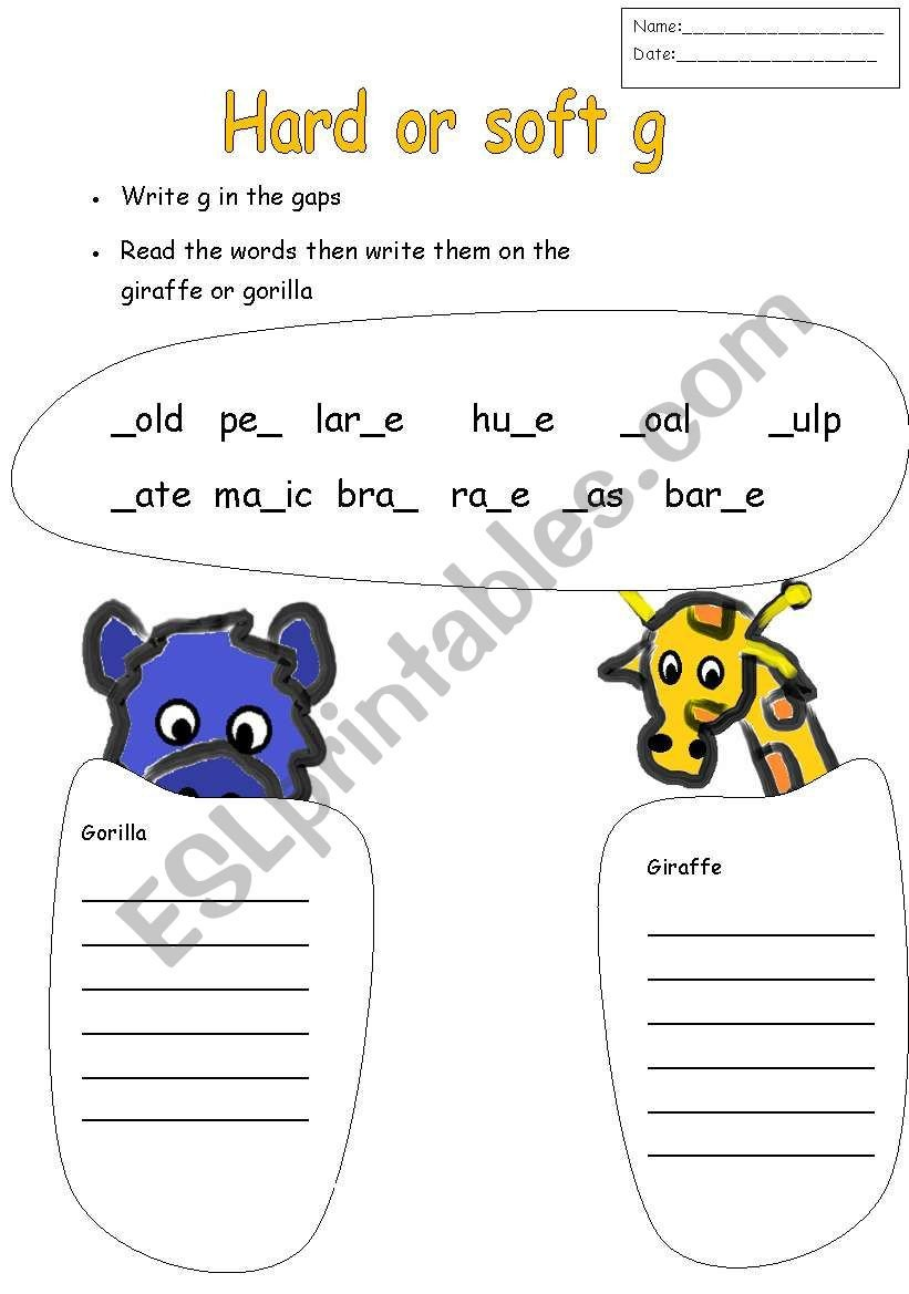 Soft G Worksheet English Worksheets Hard or soft G