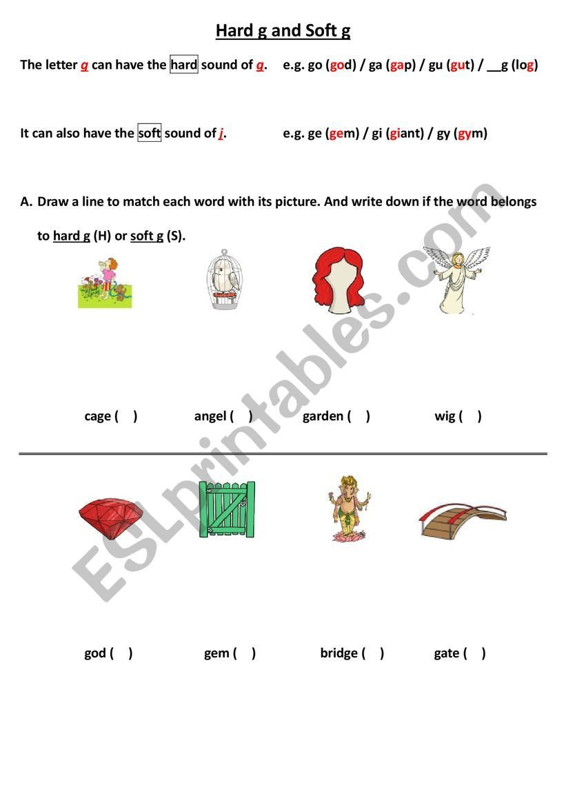 Soft G Worksheet Hard G and soft G Esl Worksheet by Nicole86