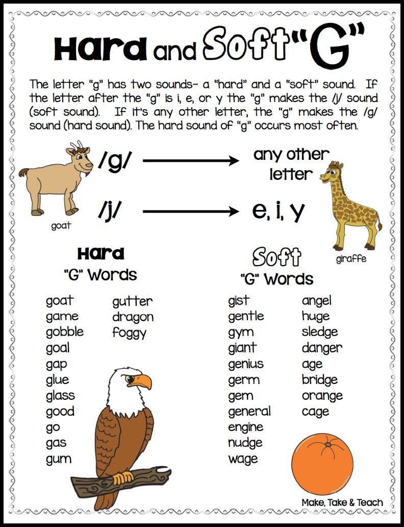 "Soft G Worksheet Teaching the Hard and soft ""c"" and ""g"" Make Take & Teach"