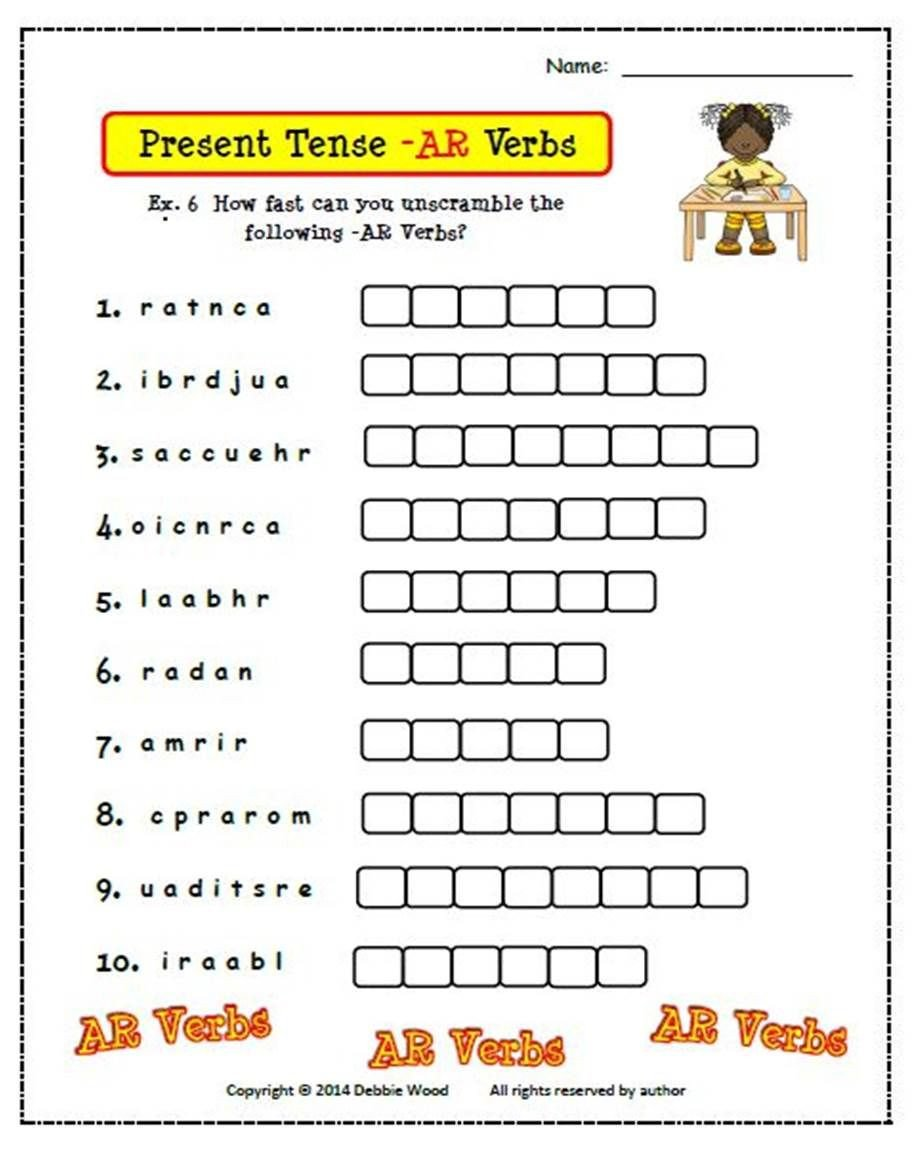 Spanish Conjugation Practice Worksheets Spanish Present Tense Ar Verbs