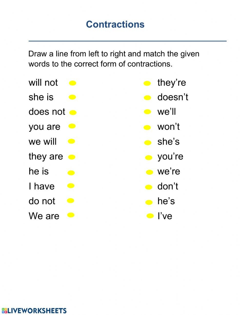 Spanish Contractions Worksheet Contraction Interactive Worksheet