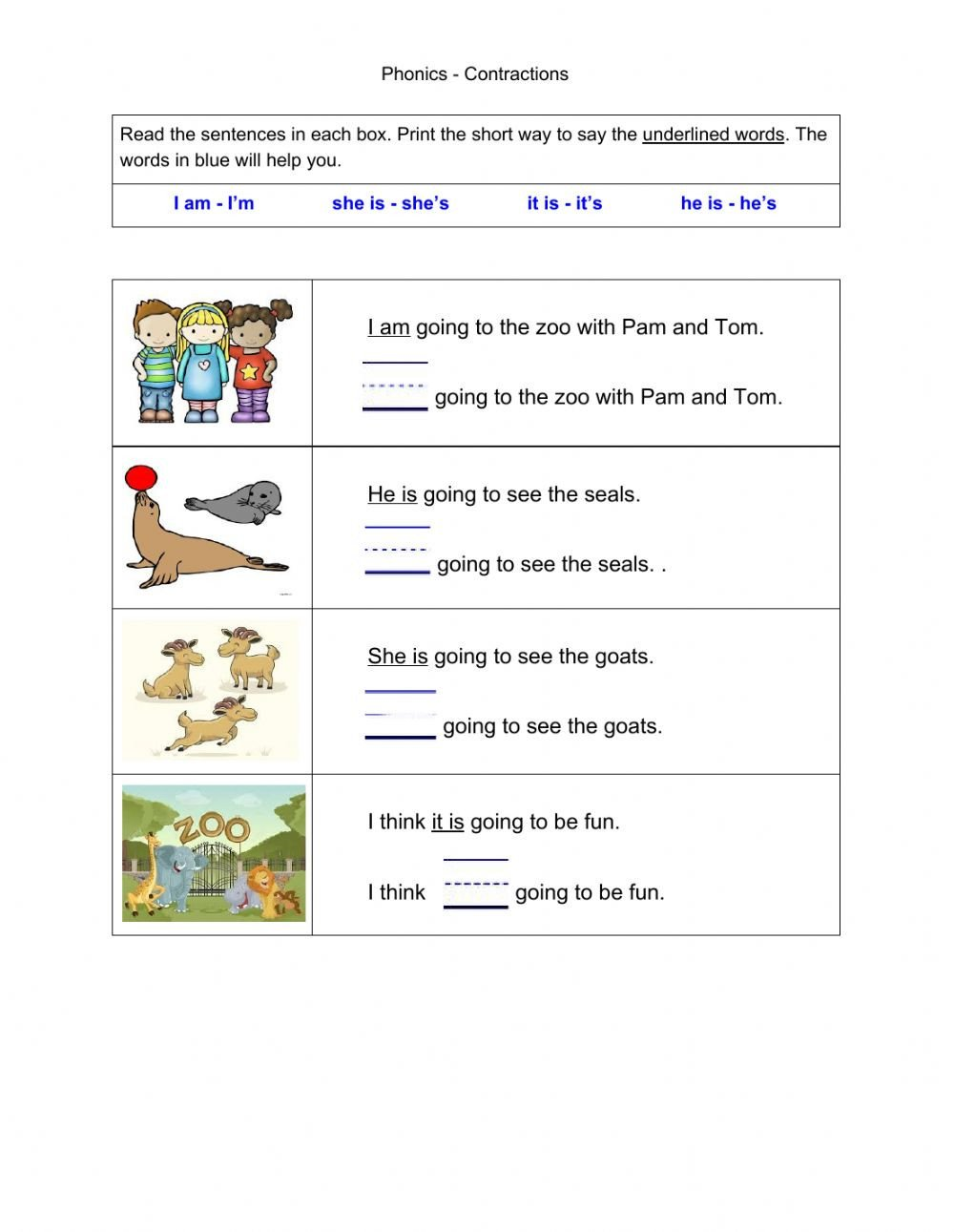 Spanish Contractions Worksheet Phonics Contractions Part 1 S Interactive Worksheet