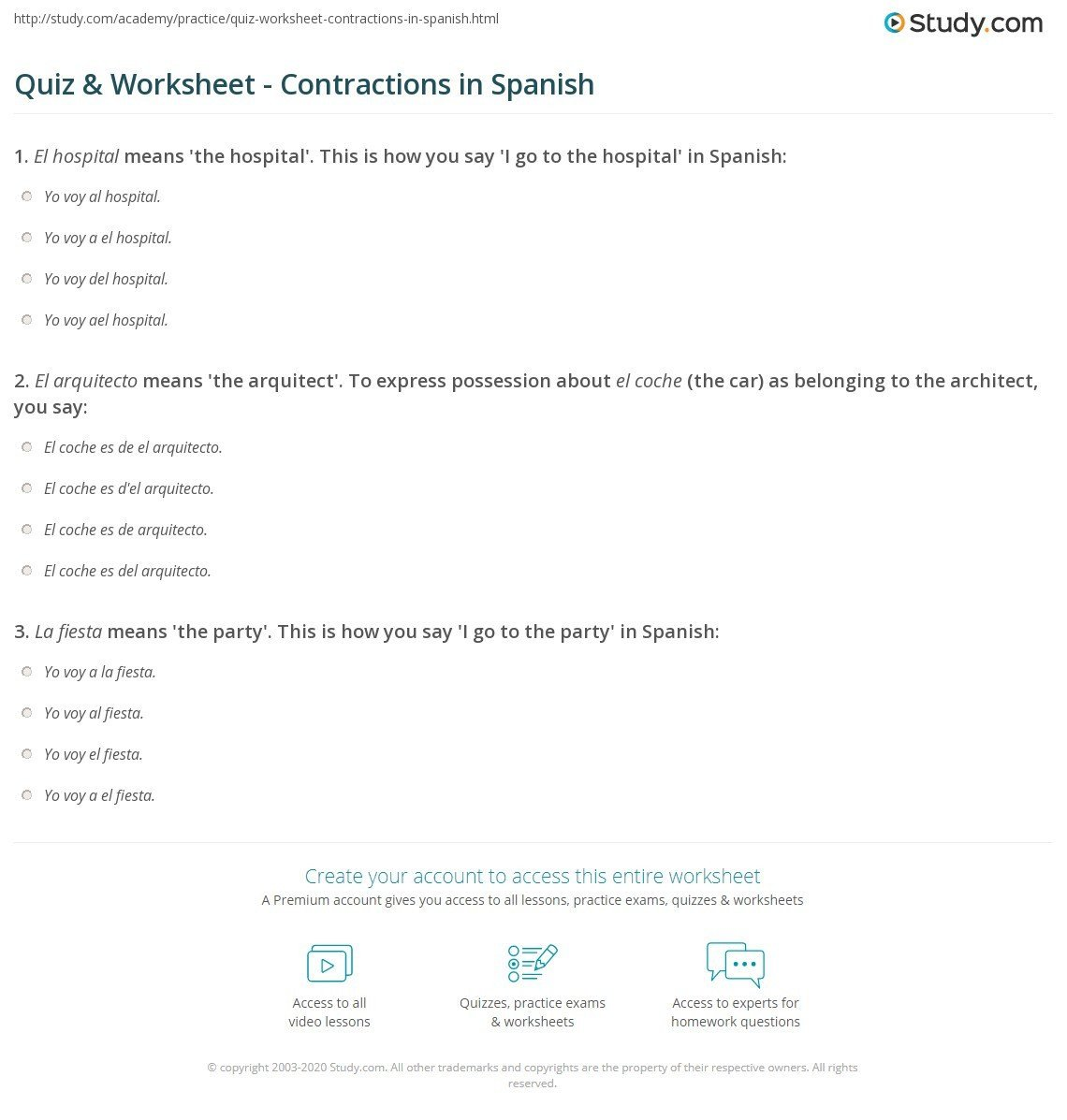 Spanish Contractions Worksheet Spanish Contractions Worksheet