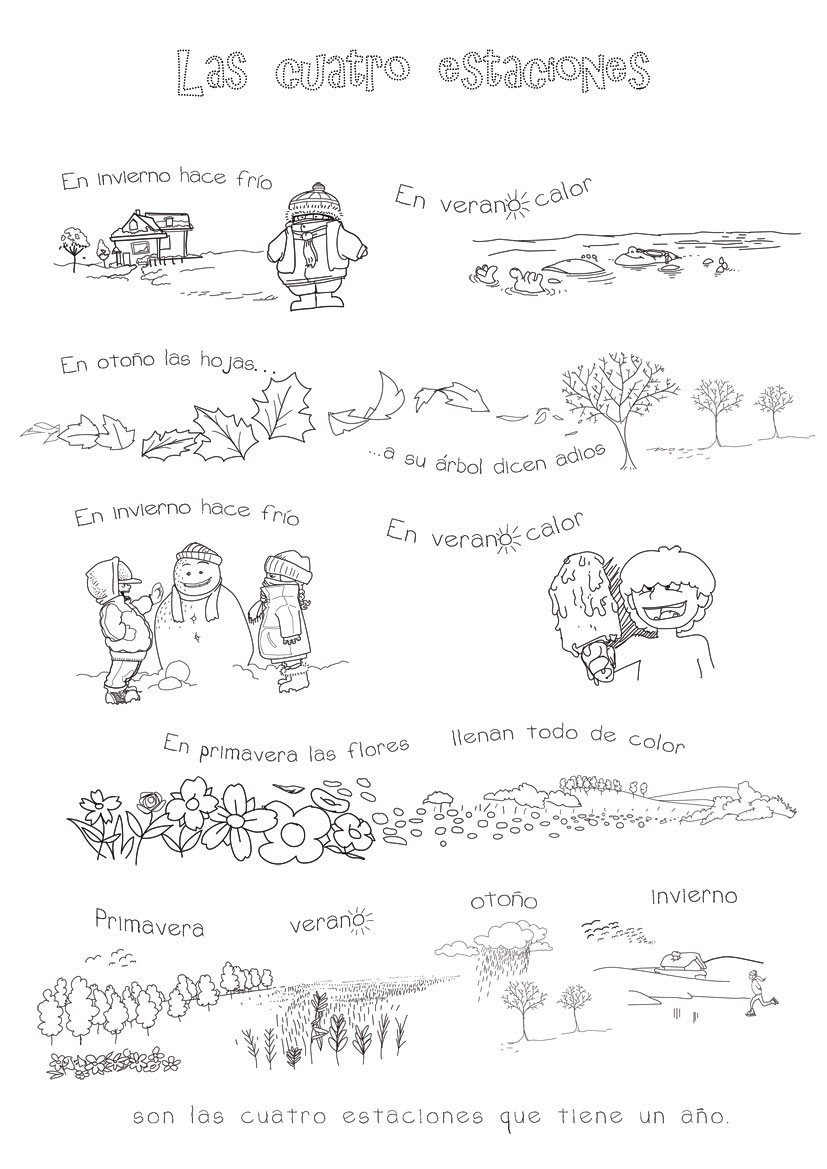 Spanish Months and Seasons Worksheets Four Seasons In Spanish song for Kids