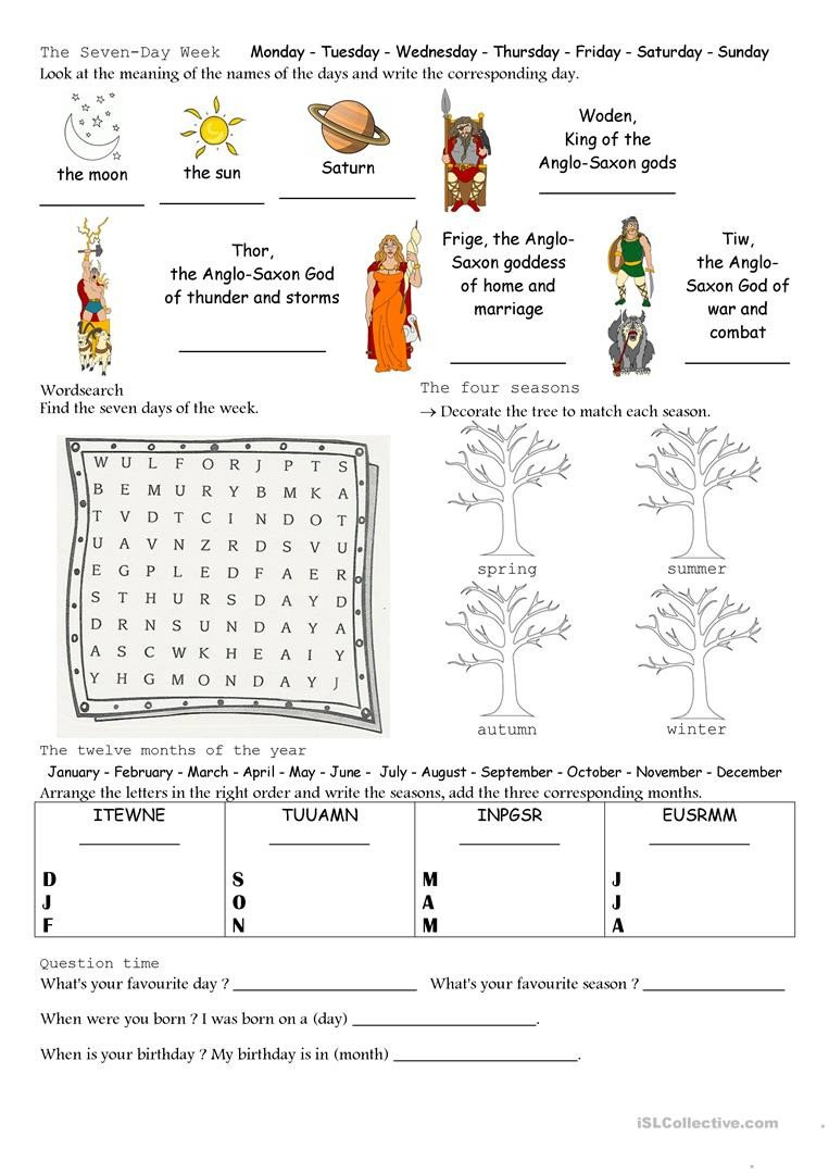 Spanish Months and Seasons Worksheets Math Properties Integers English Reading Prehension
